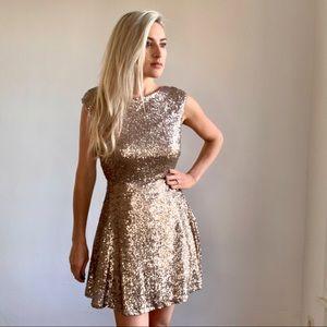 Gold Sequin Low Back Fit & Flare Cocktail Dress L